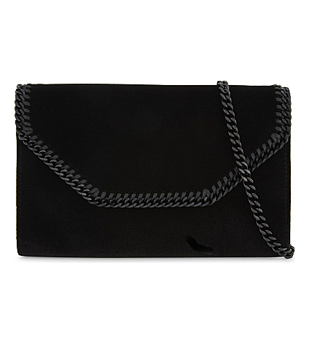 STELLA MCCARTNEY Falabella velvet cross-body bag (Black