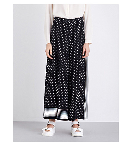 STELLA MCCARTNEY Darci wide-leg silk-crepe trousers (Blk/wht