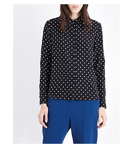 STELLA MCCARTNEY Wilson silk-crepe shirt (Blk wht