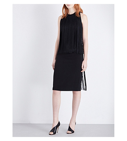 STELLA MCCARTNEY Fringed stretch-crepe dress (Blk