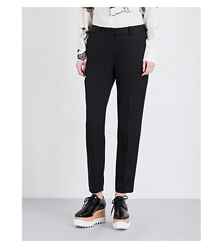 STELLA MCCARTNEY Straight-cut wool tuxedo pants (Blk