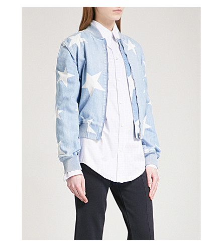 STELLA MCCARTNEY Star denim bomber jacket (Light+blue