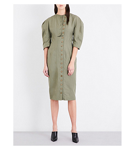 STELLA MCCARTNEY Kathey compact-cotton midi dress (Light khaki