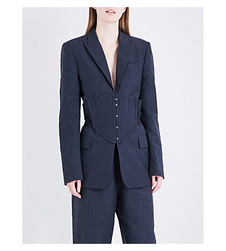 STELLA MCCARTNEY Single-breasted dupioni jacket (Ink