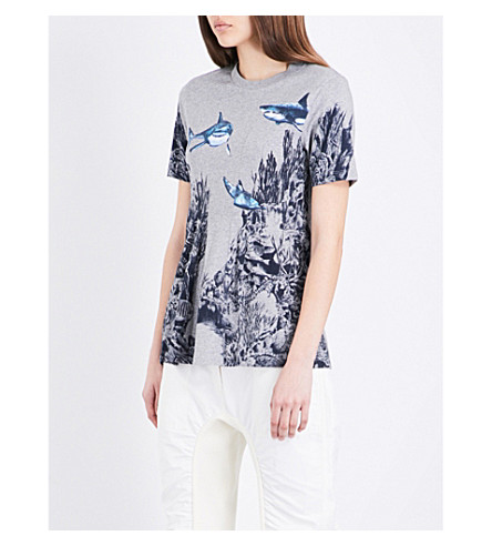 STELLA MCCARTNEY Underwater cotton T-shirt (Grey melange