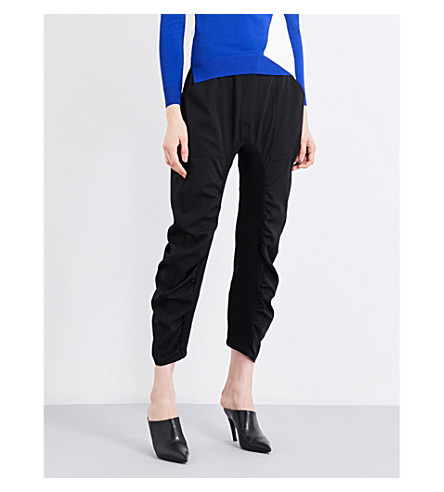 STELLA MCCARTNEY Tapered ruched wool trousers (Black