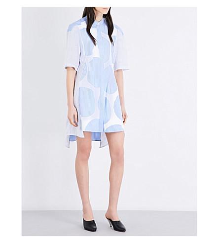 STELLA MCCARTNEY Leanna striped cotton-poplin shirt dress (Sky blue