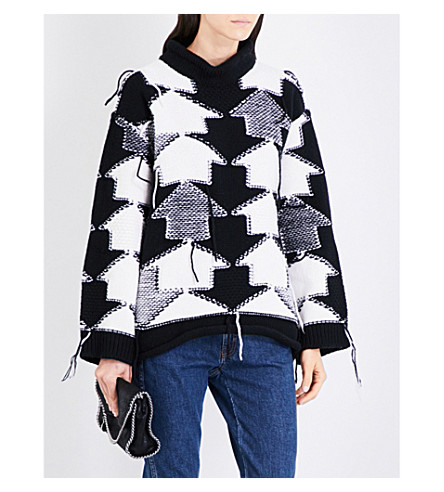 STELLA MCCARTNEY Arrow intarsia wool jumper (Black/white