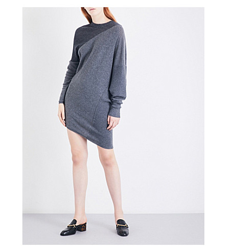 STELLA MCCARTNEY Dual-tone wool dress (Charcoal