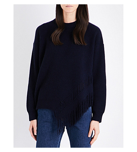 STELLA MCCARTNEY Fringed cashmere and wool-blend jumper (Ink