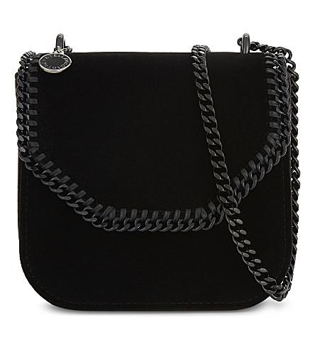 STELLA MCCARTNEY Falabella small velvet cross-body bag (Black