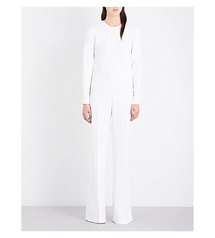 STELLA MCCARTNEY Wide-leg stretch-crepe and floral-lace jumpsuit (Pure white