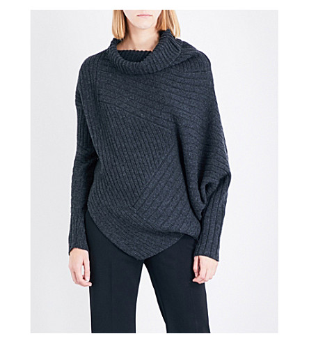 STELLA MCCARTNEY Turtleneck asymmetric ribbed knitted sweater (Grey