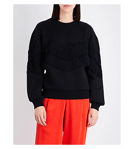 STELLA MCCARTNEY Jersery fringed cotton-blend sweatshirt (Black