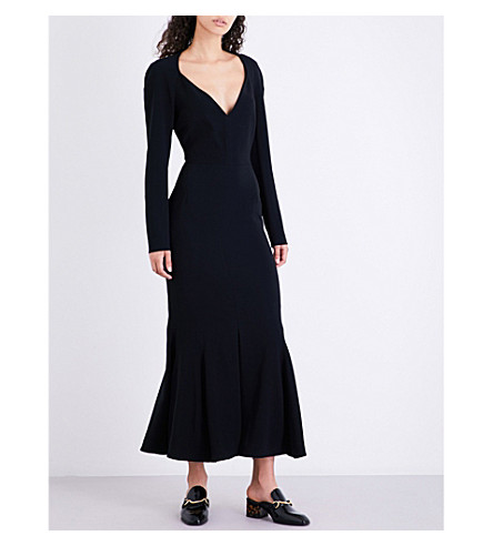 STELLA MCCARTNEY Trudy fit-and-flare crepe maxi dress (Black