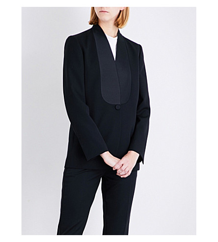 STELLA MCCARTNEY Ester satin-panel wool jacket (Black