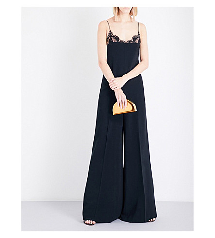 STELLA MCCARTNEY Kara lace-detail crepe jumpsuit (Black