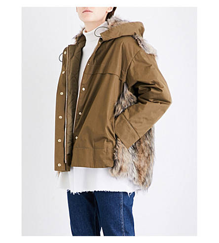 STELLA MCCARTNEY Hannah cotton-twill and faux-fur parka jacket (Moss