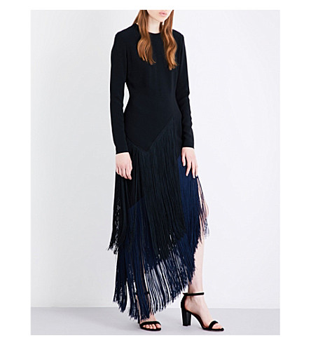 STELLA MCCARTNEY Camille fringed stretch-crepe midi dress (Black