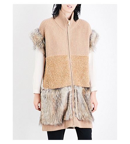 STELLA MCCARTNEY Faux-fur trim wool gilet (Camel