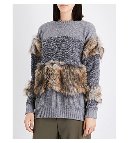 STELLA MCCARTNEY Faux-fur trim wool jumper (Grey