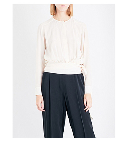 STELLA MCCARTNEY Freya tie-waist silk-crepe top (Nateral