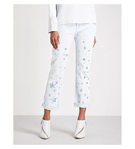STELLA MCCARTNEY Star straight cropped mid-rise jeans (Blue