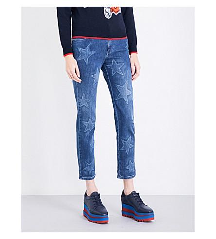 STELLA MCCARTNEY Star-print boyfriend-fit mid-rise jeans (Blue+denim