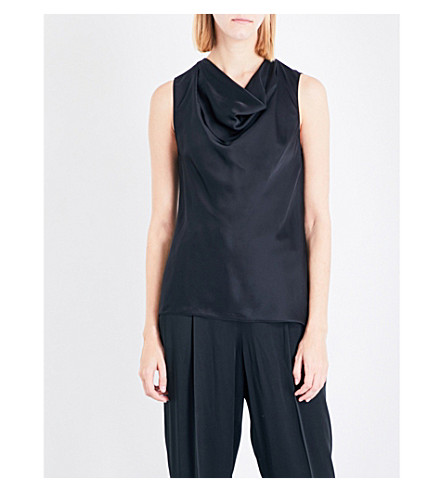 STELLA MCCARTNEY Daisy silk-satin top (Black