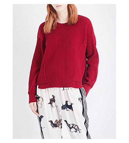 STELLA MCCARTNEY Dropped-shoulder ribbed knitted jumper (Red