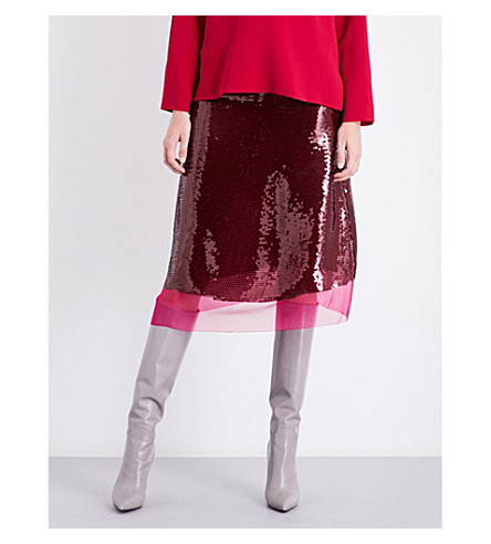 STELLA MCCARTNEY Margo sequinned silk skirt (Hot+pink+sequin