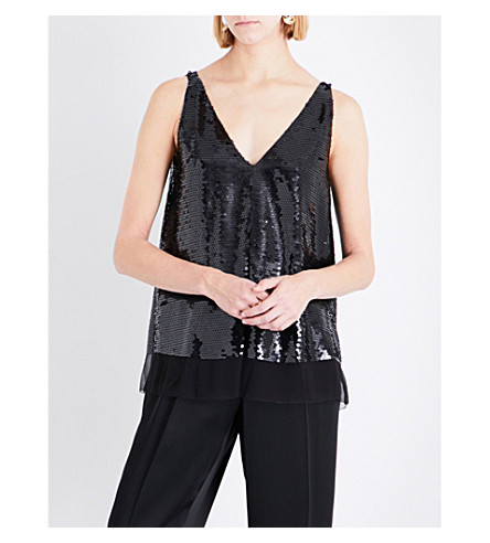 STELLA MCCARTNEY Sutton sleeveless silk and sequin top (Black