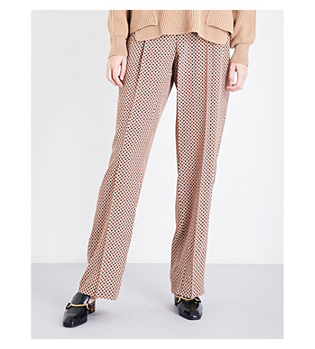 STELLA MCCARTNEY Ciecly straight high-rise silk-crepe trousers (Camel+tie+pnt