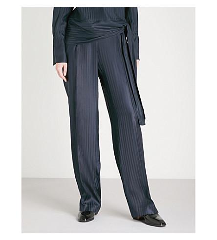 STELLA MCCARTNEY Pinstriped wide-leg silk trousers (Ink