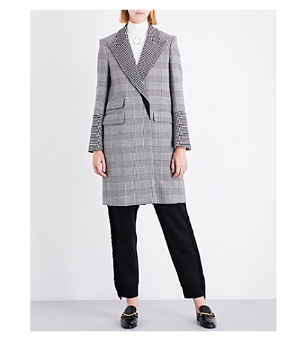 STELLA MCCARTNEY Odelia checked wool-blend coat (Black/+white+pnt