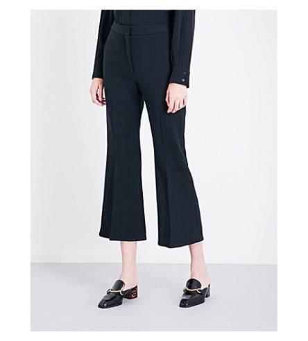 STELLA MCCARTNEY Angel cropped flared stretch-wool trousers (Black