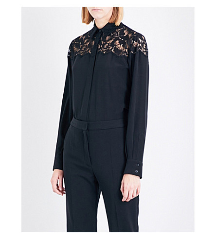 STELLA MCCARTNEY Frederica lace and silk-crepe shirt (Black