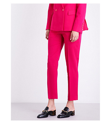 STELLA MCCARTNEY Octiva tapered mid-rise wool trousers (Hot+pink
