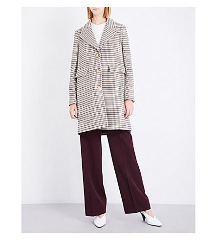 STELLA MCCARTNEY Single-breasted check stretch-wool coat (Beige+check