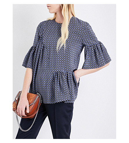 STELLA MCCARTNEY Santi silk crepe de chine top (Blue+winter+tie+prt