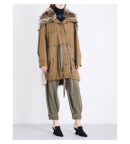 STELLA MCCARTNEY Gail cotton-twill and faux-fur parka coat (Moss