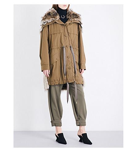STELLA MCCARTNEY Gail cotton-twill and faux-fur parka coat (Moss