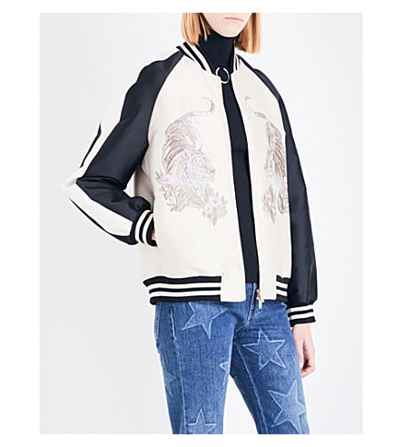 STELLA MCCARTNEY Lorinda tiger-embroidered woven bomber jacket (Oyster