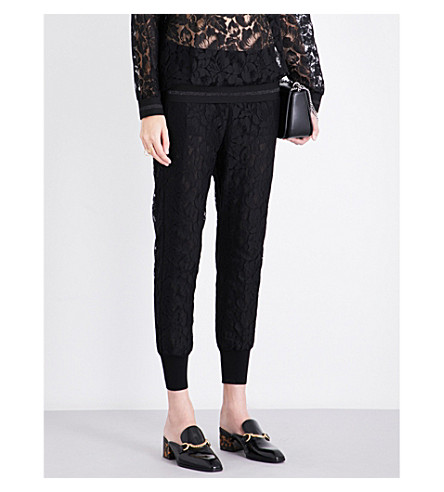 STELLA MCCARTNEY Julia tapered mid-rise lace trousers (Black