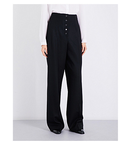 STELLA MCCARTNEY High-rise wide-leg wool-twill trousers (Black