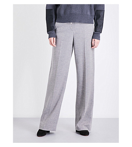 STELLA MCCARTNEY High-rise wide wool trousers (Grey