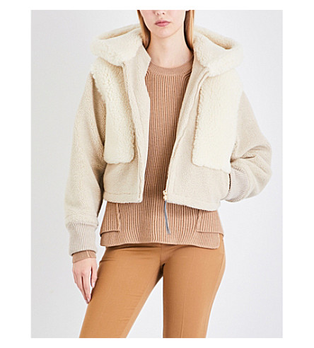 STELLA MCCARTNEY Cropped faux-shearling jacket (Natural