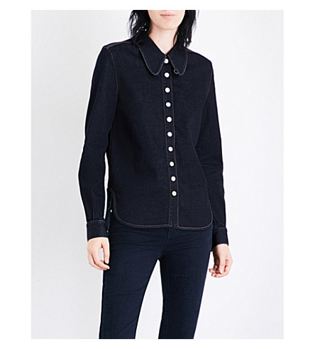 STELLA MCCARTNEY Contrast-stitch slim-fit denim shirt (Dark+blue
