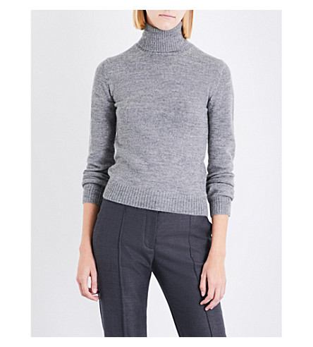 STELLA MCCARTNEY Waffle-knit wool and alpaca-blend jumper (Grey
