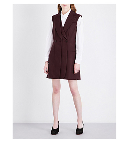 STELLA MCCARTNEY Double-breasted wool mini dress (Aubergine